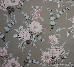 1940 u0027s vintage wallpaper gray with pink blue and black floral