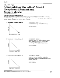 manipulating the ad as model exogenous demand and supply shocks