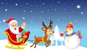 merry christmas snowman santa claus sleigh reindeer gifts winter