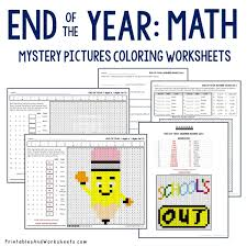 end of the year math coloring worksheets bundle printables