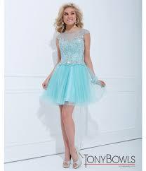tony bowls 2014 baby blue mesh filigree short prom dress