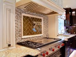 blue and copper kitchen tumbled limestone tile danze pull down