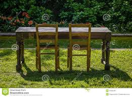 Chairs For Garden Empty Wooden Table With Garden And Two Chairs For Food Outdoor
