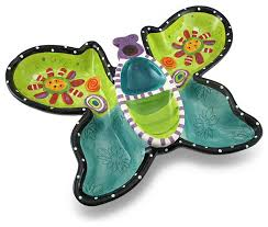 butterfly serving platter colorful whimsical butterfly ceramic chip and dip serving tray
