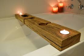 bath caddy recycled wood with copper bottomed phone holder