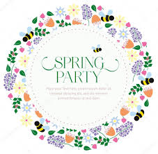 Floral Invitation Card Designs Spring Party Floral Invitation Card On White Background U2014 Stock