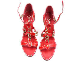 chanel brand new red patent leather strap chain sandals shoes