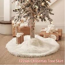 122cm plush white snowflakes tree skirt base floor mat