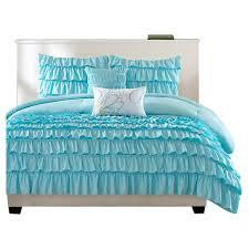 aqua ruffle comforter bedroom brilliant blue waterfall comforter set ruffle comforter
