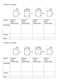 volume cylinder worksheet volume of a cylinder by labrown20 teaching resources tes