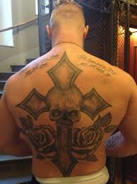 crazy cross with skull tattoos on back for men tattoos pictures