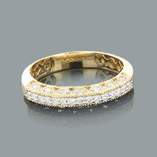 gold diamond band 14k gold womens diamond wedding band milgrain 33ct
