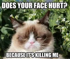 Grumpy Face Meme - grumpy cat does your face hurt its killing me meme my dad used to