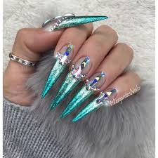 ombré stiletto nails fashion nail art design swarovski crystals by