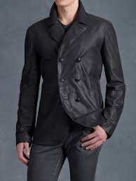 john varvatos double breasted leather jacket in black for men lyst
