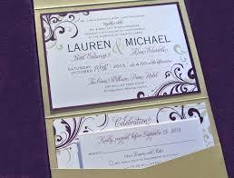 purple and gold wedding invitations purple gold swirls scrolls vertical pocketfold wedding invitations