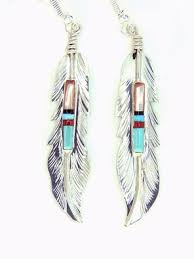 silver feather earrings buy by navajo artist freddy barney crafted sterling silver