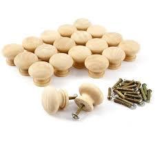 poignee et bouton de cuisine 20x poignée bouton bois sans peinture 32x26mm pour armoire placard