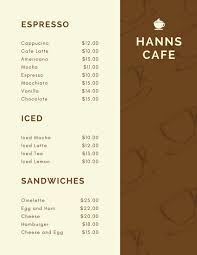 menu templates cafe menu templates canva