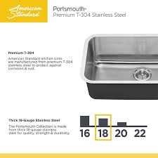 American Standard Portsmouth Undermount Stainless Steel  In - American standard kitchen sink