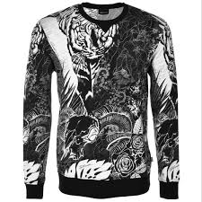 exclusive just cavalli allover tiger sweatshirt for mens black