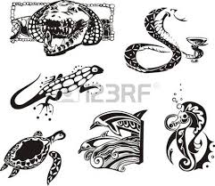 stylized creatures vector set royalty free cliparts vectors and