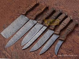 forged kitchen knives damascus forged kitchen chef knives 7 pieces set
