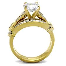 bridal ring set gold tone stainless steel cubic zirconia cut bridal women s