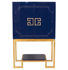 Gold Bar Cabinet Bombay Regency Navy Blue Lacquer Gold Bar Cabinet