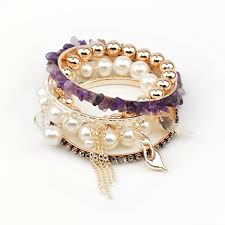 bracelet sets images Purple crystal bead charm multi bangle bracelet set wholesale jpg