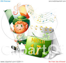 clipart of a st patricks day leprechaun with a calendar music and