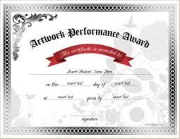 artwork performance award certificates professional certificate
