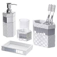 bathroom accessories quilted mirror bathroom set 4 piece includes lotion dispenser