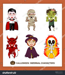 the background of halloween set 6 infernal characters holiday halloween stock vector 322803488