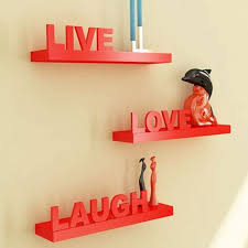 onlineshoppee beautiful wooden red wall shelves live love laugh
