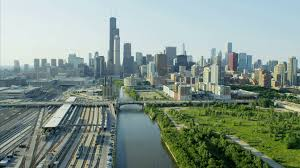 aerial day view of willis tower chicago river illinois