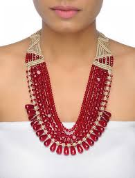 red crystal bead necklace images Buy red crystal beaded multi string macrame necklace online at jpg