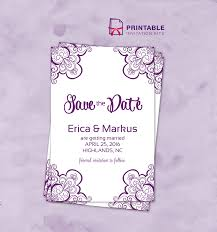 save the date with vintage ornament borders wedding invitation