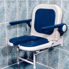 wall mounted fold up horseshoe padded shower seat with back and arms