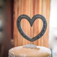 country cake topper heart wedding cake topper horseshoe western or country heart