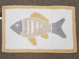 Fish Bath Rug Kingsley Home 100 Cotton Bath Mat White Cream Gold Grey Fish
