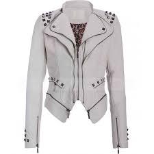 leather moto jacket womens studded punk jacket white faux leather moto jacket
