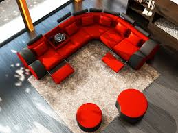 3087 modern orange and black leather sectional sofa and coffee table