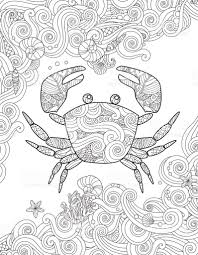 coloring page ornate crab and sea waves vertical composition stock