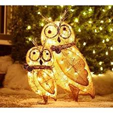 Lighted Outdoor Christmas Decorations Home Depot by Amazon Com Lighted Burlap Owl Family Home U0026 Kitchen