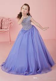 elegant purple crystal flower girls dresses for girls long chiffon
