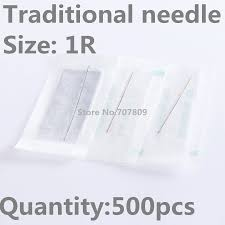 500pcs NEW Tattooing Makeup Needles 1RL Sterilized Disposable Makeup