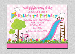 Greeting Cards For Invitation Birthday Party Invitations Girls Pink Playground Swing