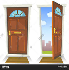 Red Door Home Decor Cartoon Red Door Open Closed Vector U0026 Photo Bigstock