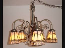 tiffany style 5 light antique finish stained glass hanging lamp